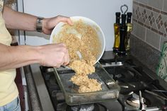 Do-It-Yourself Protein Bars - 2 Cups Peanut Butter. 1 3/4 Cups honey. 2 1/4 Cups Protein Powder. 3 Cups dried oatmeal or granola. In a microwave safe bowl combine peanut butter and honey for 70 -90 seconds. Add protein powder and oatmeal. Mix all of this (it will be thick). Press it into 9X13 inch pan. Put it in the refrigerator to cool.