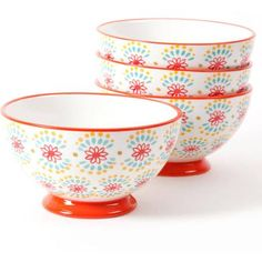 "The Pioneer Woman Flea Market 6"" Decorated Footed Bowls, Multi Burst Red, Set of 4"