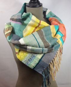 New to pidgepidge on Etsy: Anita | Modern Luxury Weaving | Stylish Heirloom Gifts | Handwoven Mint Peach & Lemon Scarf | Loomed Accessories | Pastel and Neon Stripes
