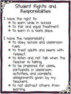Student Rights & Responsibilities  Love this!!! Classroom Posters, Classroom Behavior, Classroom Setup, Future Classroom, Middle School Classroom, Classroom Organization, Classroom Management, Behavior Management, Class Management