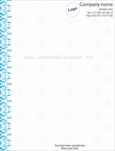 Blue lace letterhead template preview