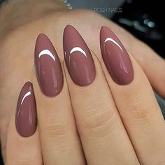 REPOST - - - - Rosewood on long Almond Nails - - - - Picture and Nail Design by posh_nails_sara her for more gorgeous nail art designs! Long Almond Nails, Almond Acrylic Nails, Acrylic Nails For Summer Almond, Acrylic Nails For Fall, Fall Almond Nails, Almond Nails Pink, Almond Nail Art, Almond Shape Nails, Acrylic Gel