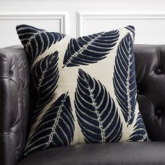 Shop Frond Natural Jute and Velvet Pillow with Feather-Down Insert. Cotton velvet palm leaves and rayon embroidery layer on top of a natural jute base. Backed in solid navy blue cotton, multi-textured pillow makes a bold statement wherever it's tossed. Blue Throw Pillows, Velvet Pillows, Accent Pillows, Black And White Pillows, Pillow Texture, Leather Pillow, Jute, Decorative Pillows, Natural