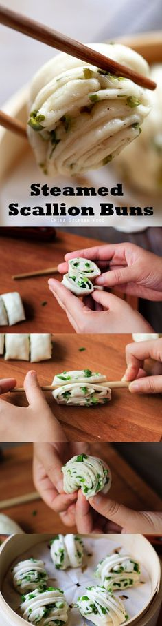 Steamed scallion buns–Chinese flower shape buns Read Recipe by elaineseafish Vegetarian Recipes, Cooking Recipes, Healthy Recipes, Steam Recipes, Chinese Food, Chinese Desserts, Asian Cooking, Dim Sum, Flower Shape