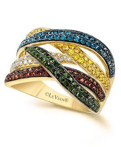 Le Vian Mixberry™ White and Colored Diamond Crossover Ring in 14k Yellow Gold (=)