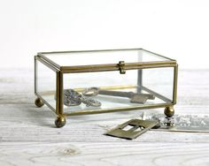 Recycled Glass And Antique Brass Storage Box Square Size, To Fit 5x5 Prints  And A