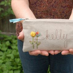 personalized wedding clutch, bridal purse, wedding party gift, MADE TO ORDER. $38.00, via Etsy.