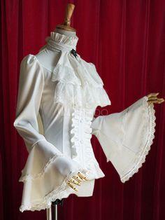 Black Lolita Blouse Bell Sleeves Ruffles Cotton Blouse for Women