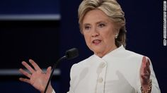 Clinton wins third debate, according to CNN/ORC poll / Thurs / Democratic presidential nominee former Secretary of State Hillary Clinton speaks during the third U.S. presidential debate at the Thomas & Mack Center on October 19, 2016 in Las Vegas, Nevada.