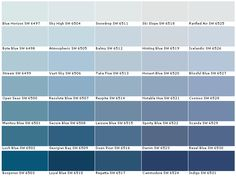 Sherwin Williams Duration Paint Options - House Paint Color Chart - Samples, Swatches, Charts for Exterior and Interior Wall and ceiling Wall Colors, House Colors, Sherwin Williams Duration, Casa Milano, Paint Color Chart, Sherwin William Paint, Paint Colors For Home, Light Blue Paint Colors, Blue Shades Colors
