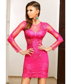 dd93413e29 Fuchsia length sleeved bodycon dress with illusion applique lace detail and  sheer lace bodice. This Forever Unique dress is part lined with bust cups