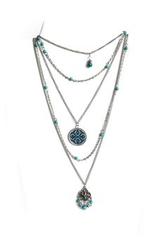ALANGOO - Multilayer Turquoise Beaded Necklace