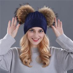 Men's Hats Men's Bomber Hats Temperate Fashion Women Knitted Bomber Hat With Real Raccoon Fur Pompon Top Warm Liner Earflap Female Cap Real Fur Pom Pom Winter Hat Cap Quality First