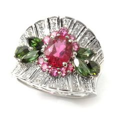 Gem Treasures Sterling Silver 2.65ctw Diamond & Tourmaline Duo Floral Ring