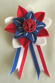 Patriotic Red White and Blue Felt Flower Pin with red vintage Navy button by Dorothy Designs, $20.00