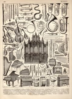 Musical Instruments 1897 Antique Print Vintage by Craftissimo, €12.00
