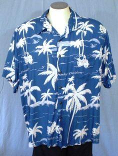 Harley-Davidson Tori Richard 2XL Hawaiian Shirt Blue White Motorcycles Palms