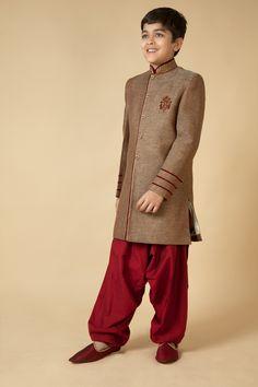 Jute Indowestern sherwani with polysilk patiala embellished with resham, zari and katdana embroidery