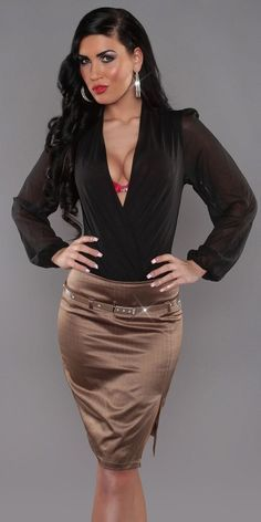 Brown Satin Pencil skirt and Black Blouse