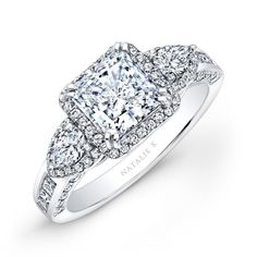 Natalie K - 14k White Gold Princess Halo Diamond Engagement Ring with Pear Side Stones NK17954-W