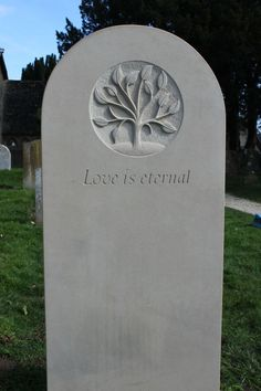 Headstones for graves: 10 stunning designs Gravestone symbol- the tree carved in sunken relief Grave Headstones, Headstones For Graves, Setting Up A Charity, Wooden Crosses, Beautiful Lettering, Tree Carving, Letter Art, Constellations, Funeral