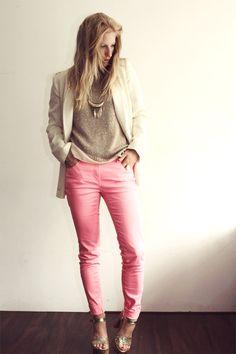 bubble gum H jean, eggshell zara blazer, camel zara top, and gold cafe moda heels
