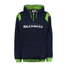 Big and Tall Seattle Seahawks 1/4 zip poly fleece pullvover hoodie #SeattleSeahawks