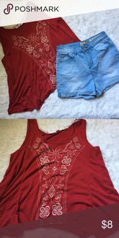 Shirt & Shorts Combo. Red shirt with flow. Size XL. 69% Polyester, 31% Rayon. Bought and worn once. Tops Tunics