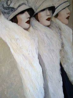 Mo Welch '3 Women in White' Art Exhibition