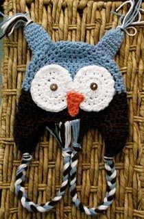 baby owl hat - crochet - free pattern