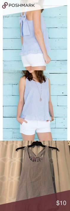 Francesca's seersucker bow back tank Size S, Francesca's blue seersucker, bow back tank Francesca's Collections Tops