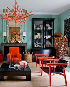 Kolonialstil Wohnbereich by Galerie Thomas Boog Colonial style living area by Galerie Thomas Boog Decor, Interior, Living Room Red, Living Room Colors, Eclectic Interior, Living Room Decor, Home Decor, House Interior, Interior Design
