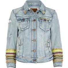 River Island Light Wash Embellished Sleeve Denim Jacket ($165) found on Polyvore