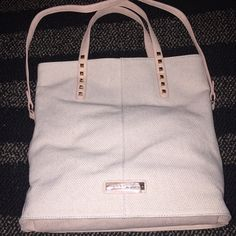 "FINAL DISCOUNT❗️BCBG Tote in Natural Brand new can be worn as tote or cross body handbag. Color is natural and bag is fabric with leather handles/strap. Measures 14"" by 14"" BCBGeneration Bags Totes"