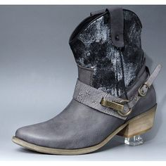 Women Gray Leather Low Heel Retro Vintage Cowgirl Chelsea Boots SKU-11405731