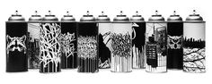 BISCO SMITH - SPRAY CAN REWORKS paper and ink on spray cans - 2015 Spray Can, Wood Paneling, Graffiti, Fine Art Prints, Mixed Media, Ink, Graphic Design, Black And White, Artwork