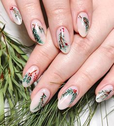Winter Foliage Christmas nails  - 12 Newest Christmas Nail Art Ideas To Try - SoNailicious