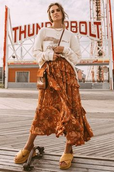 Aurora Frill Skirt burnt amber by SPELL & THE GYPSY COLLECTIVE - Woodybunch