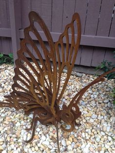 DECORATIVE ART LASER CUT CUSTOM MADE BUTTERFLY GARDEN SCULPTURE CORTEN NEW