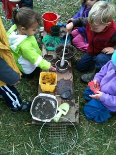 Making Mud Pies is a fun activity after a rainy day.