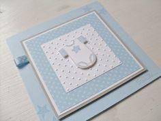 handmade baby card from  Carolas Bastelstübchen: Noch mal Babykarten ...  layers ... dots ... onsie ... cute!