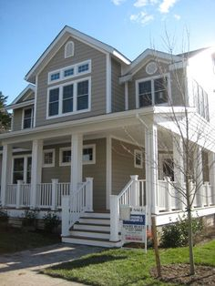 Tan with white trim - more of a house inspiration. Love the porch.