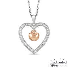 Zales 1/5 CT. T.w. Diamond Infinity Heart and Double Circle Pendant in Sterling Silver and 10K Rose Gold 4oous