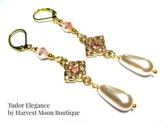 Tudor Inspired Earrings Gold Pink Crystal White Pearl Handmade Artisan Angie Pinkal 16th Century Anne Boleyn Elizabethan Renascence by AngiePinkal