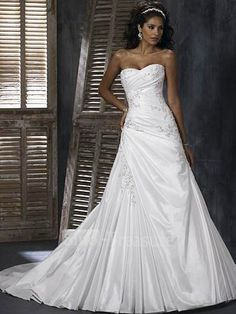 White Halter/Sweetheart A-line Court Train Taffeta Wedding Dress ... this one is pretty..