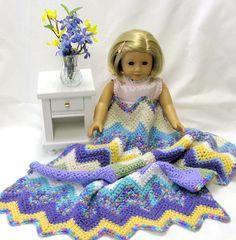 Crocheted Doll Blanket Sasha American Girl by DollPatchworks, $18.00