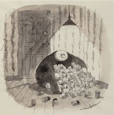 CHARLES ADDAMS - Fester: Bon Vivant Vichyssoise Soup, circa 1971 - item by fineart.ha Charles Addams, Cartoons, Soup, Painting, Cartoon, Cartoon Movies, Painting Art, Paintings, Soups