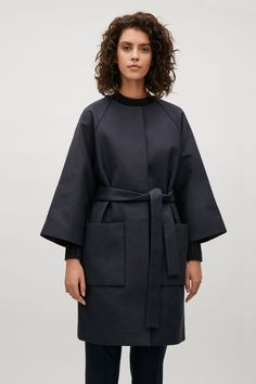 COS image 2 of Collarless coat with belt in Navy