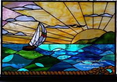 custum made stained glass | Custom Made Stained Glass Ocean Scene by Dancing Light Stained Glass ...