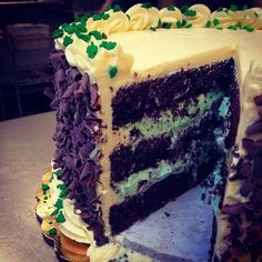 Who is enjoying this beautiful day in Boulder?! A little too warm? Come cool off with a slice of our Mintastic St. Patrick's Day Torte! #mint #fantastic #chocolatecake #mintmousse #cake #torte #stpattysday #stpatricksday #covers #shamrocks #green #chocolate #boulder #colorado #beautifulday